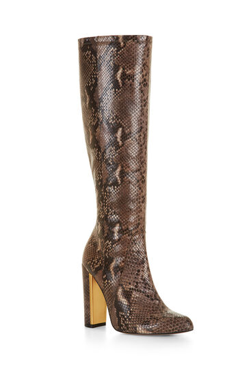 Mirren High-Heel Snake Embossed Leather Boot