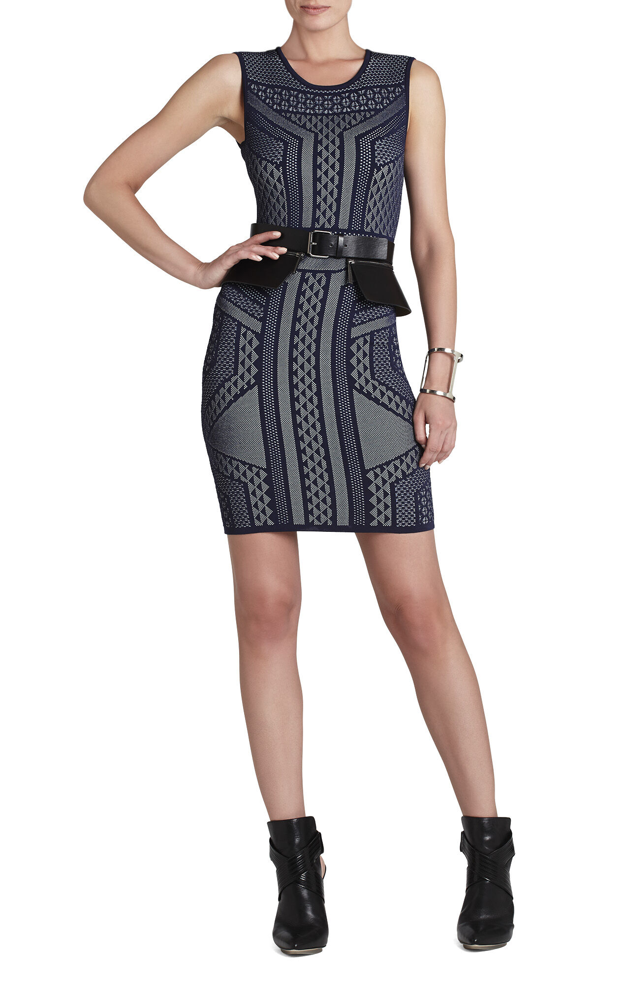 Stefanie Geometric Relief Jacquard Dress