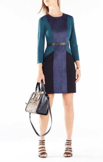 Beatriz Color-Blocked Faux-Suede Dress
