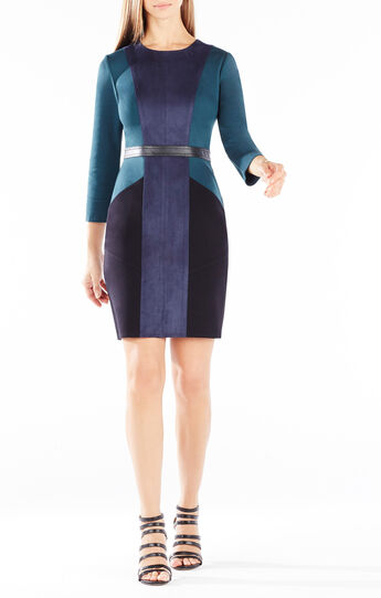 Beatriz Color-Blocked Faux-Suede Dress