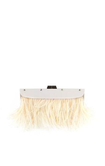 Portia Feather-Trim Lucite Clutch