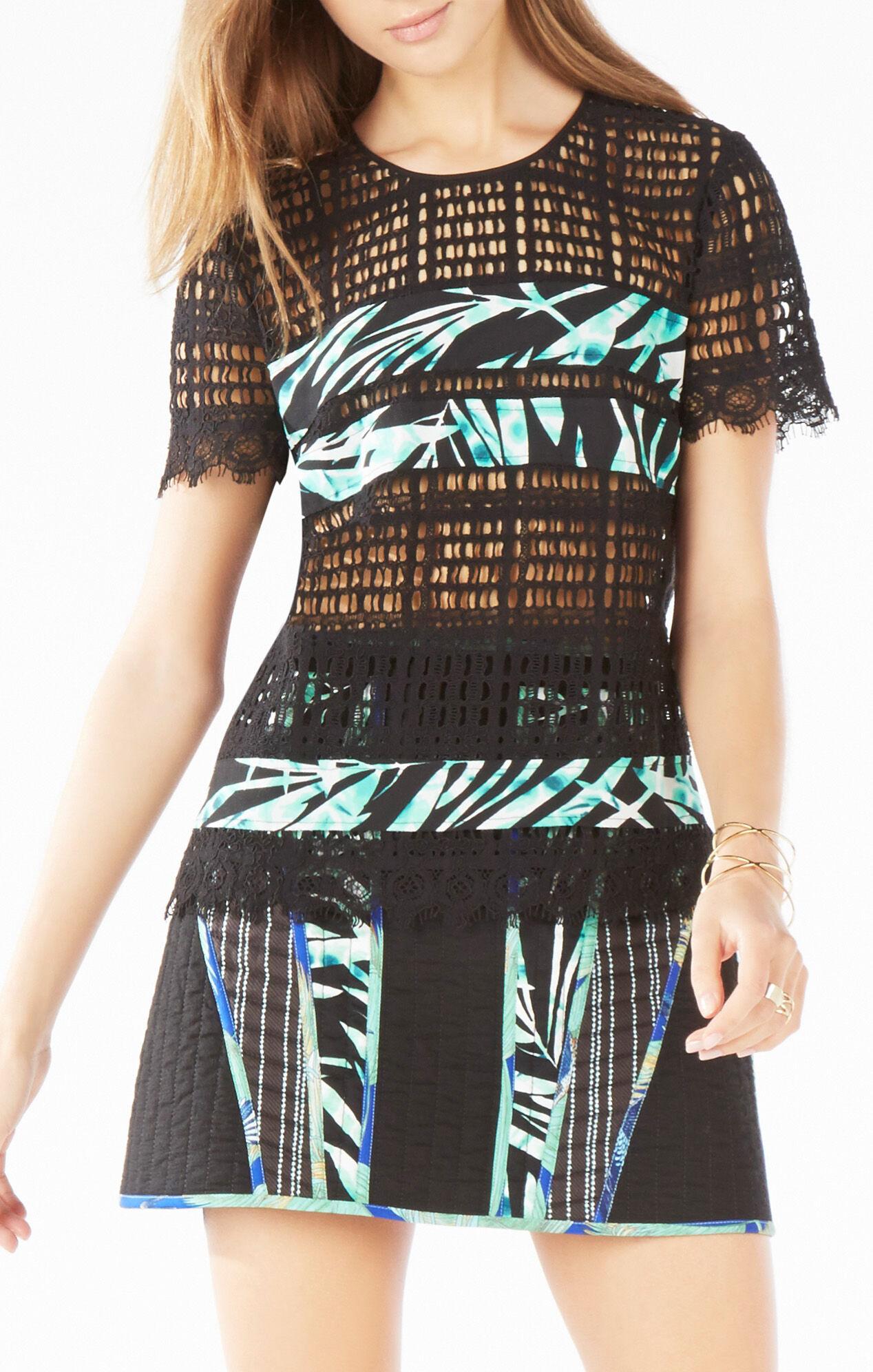 Adalynne Palms Print-Blocked Lace Top