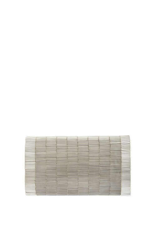 Gianna Bugle-Beaded Satin Foldover Clutch