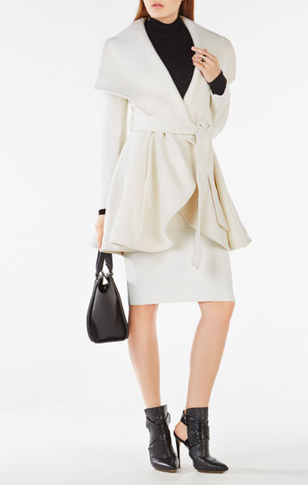 Amanda Draped-Collar Belted Coat