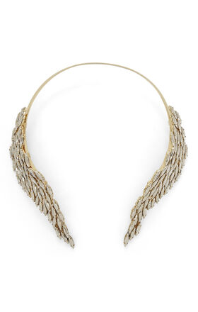 Metal-Stone Fringe Necklace