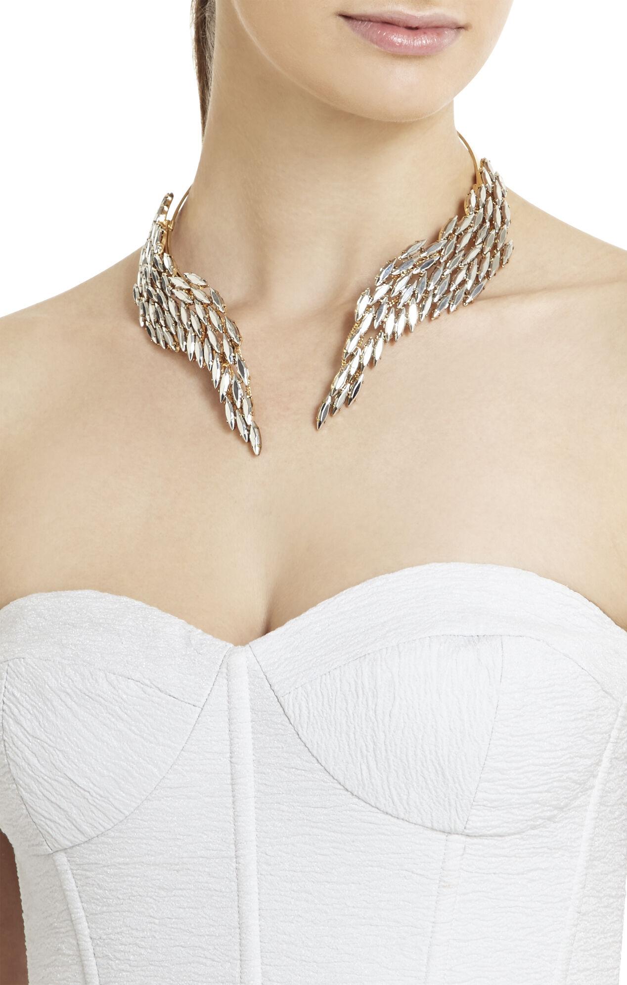 Metal-Stone Fringe Necklace