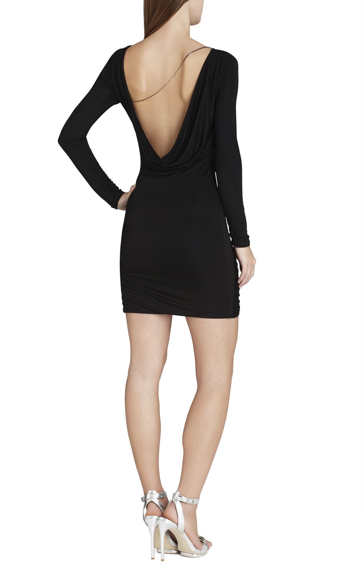 Abby Draped Jersey Long-Sleeve Dress