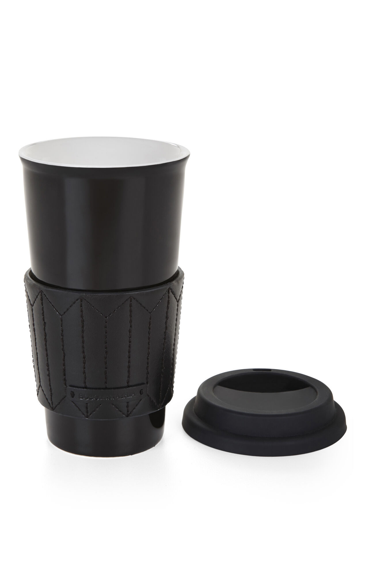 Quilted-Sleeve Ceramic Travel Mug
