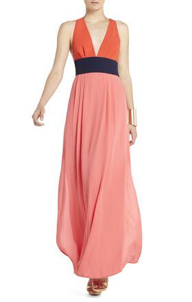 Effie Long V-Neck Color-Blocked Dress