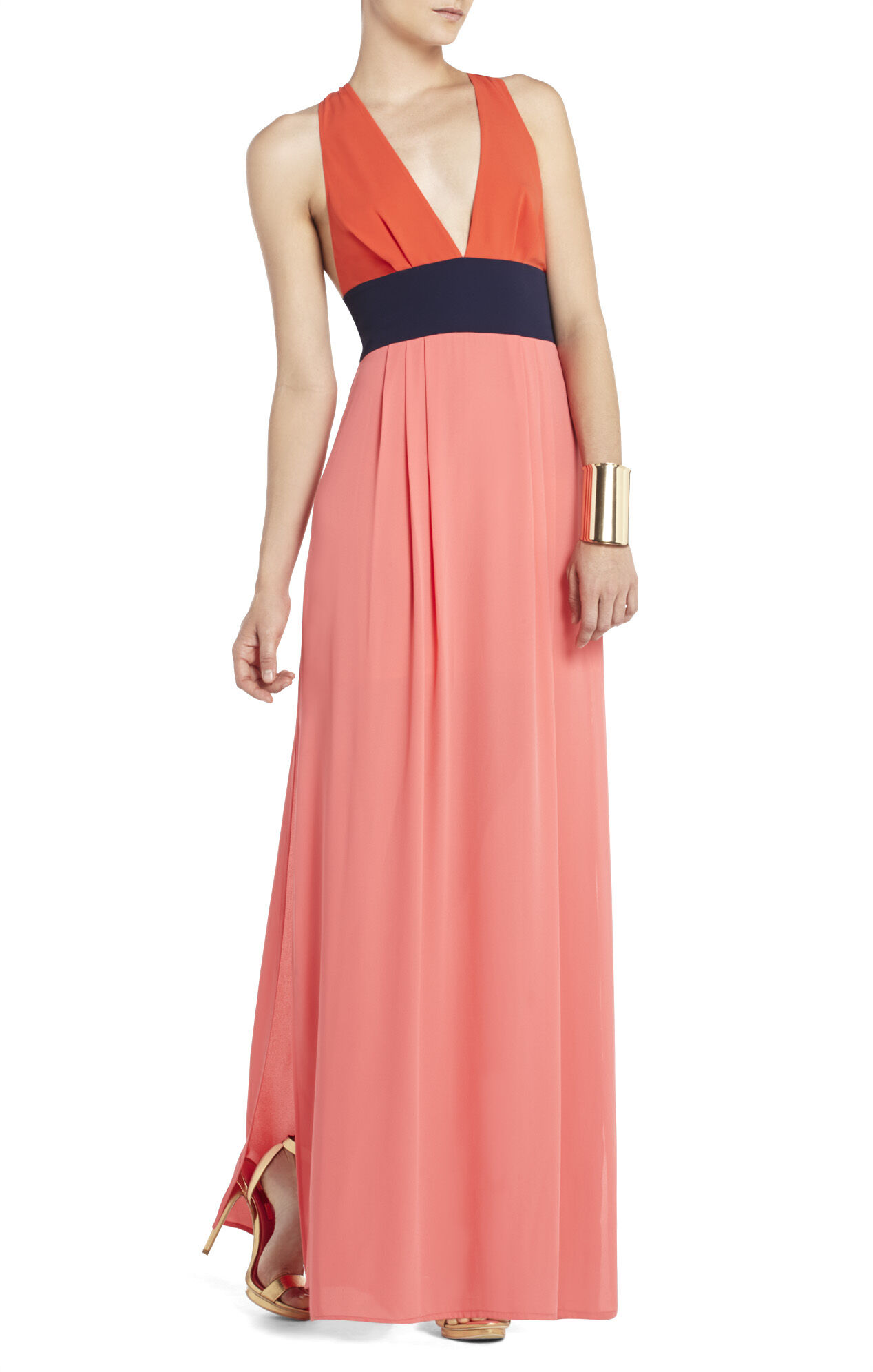 Effie Long V-Neck Color-Blocked Dress