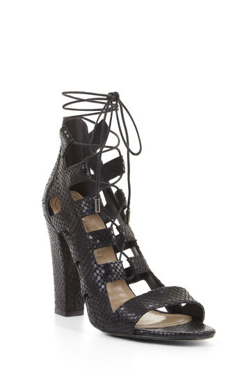 High-Heel Lace-Up Cutout Python Sandal