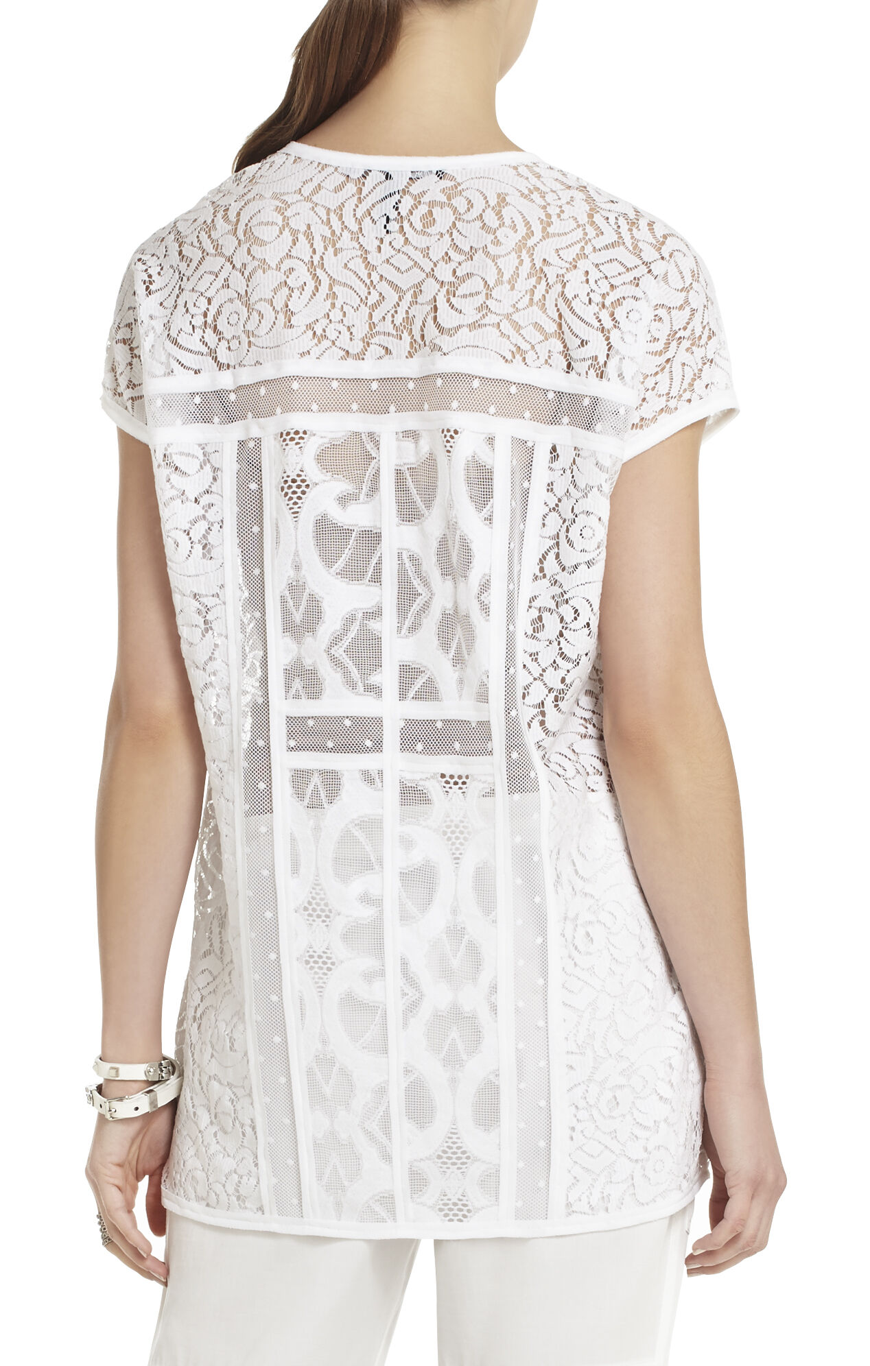 Tyrah Blocked-Lace Tunic