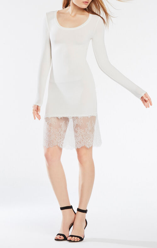 Livi Long-Sleeve Lace-Hem Dress