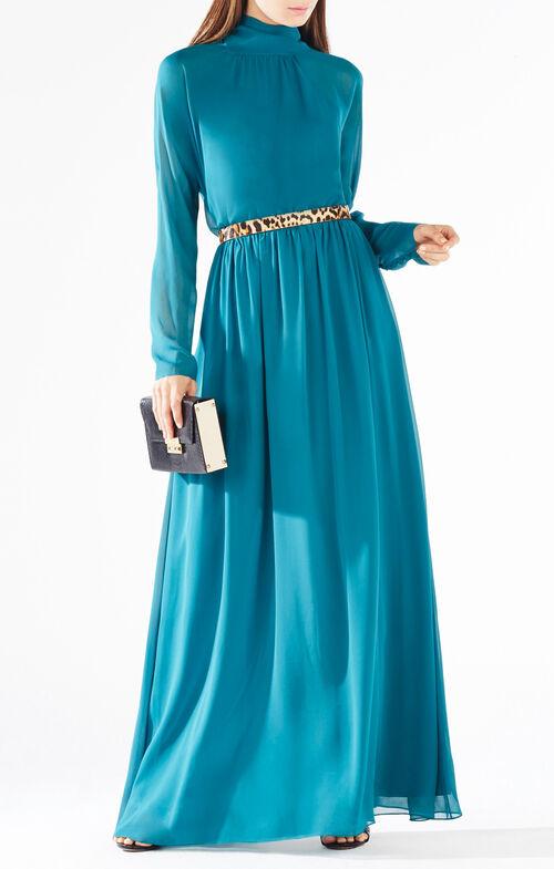 Darci Tie-Neck Silk Gown