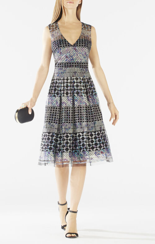 Jovita Geometric Embroidered Dress