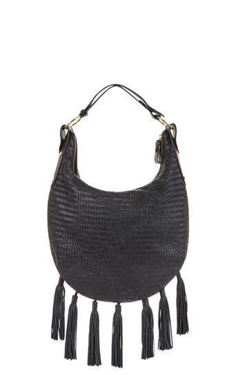 Delfina Woven Leather Tassel Hobo Bag
