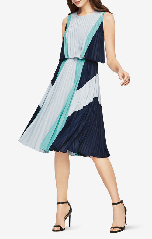 Jaelyn Print-Blocked Pleated Dress