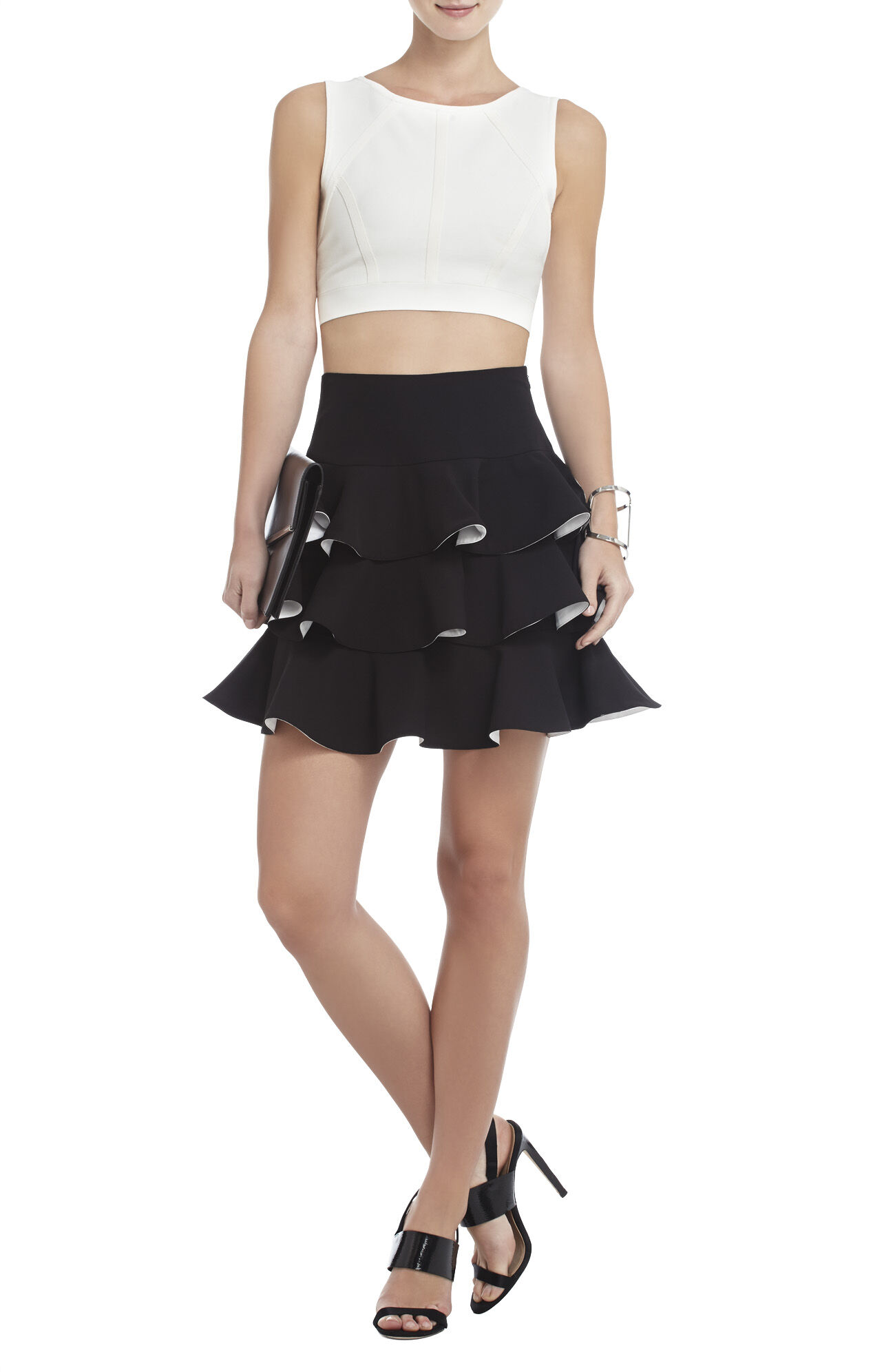 Charla Tiered-Ruffle A-Line Skirt