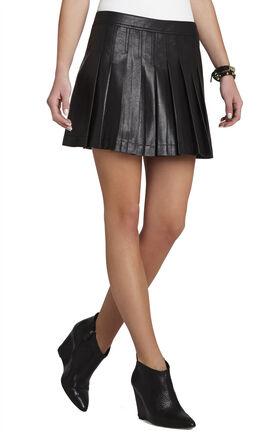 Shane Pleated Pleather Miniskirt