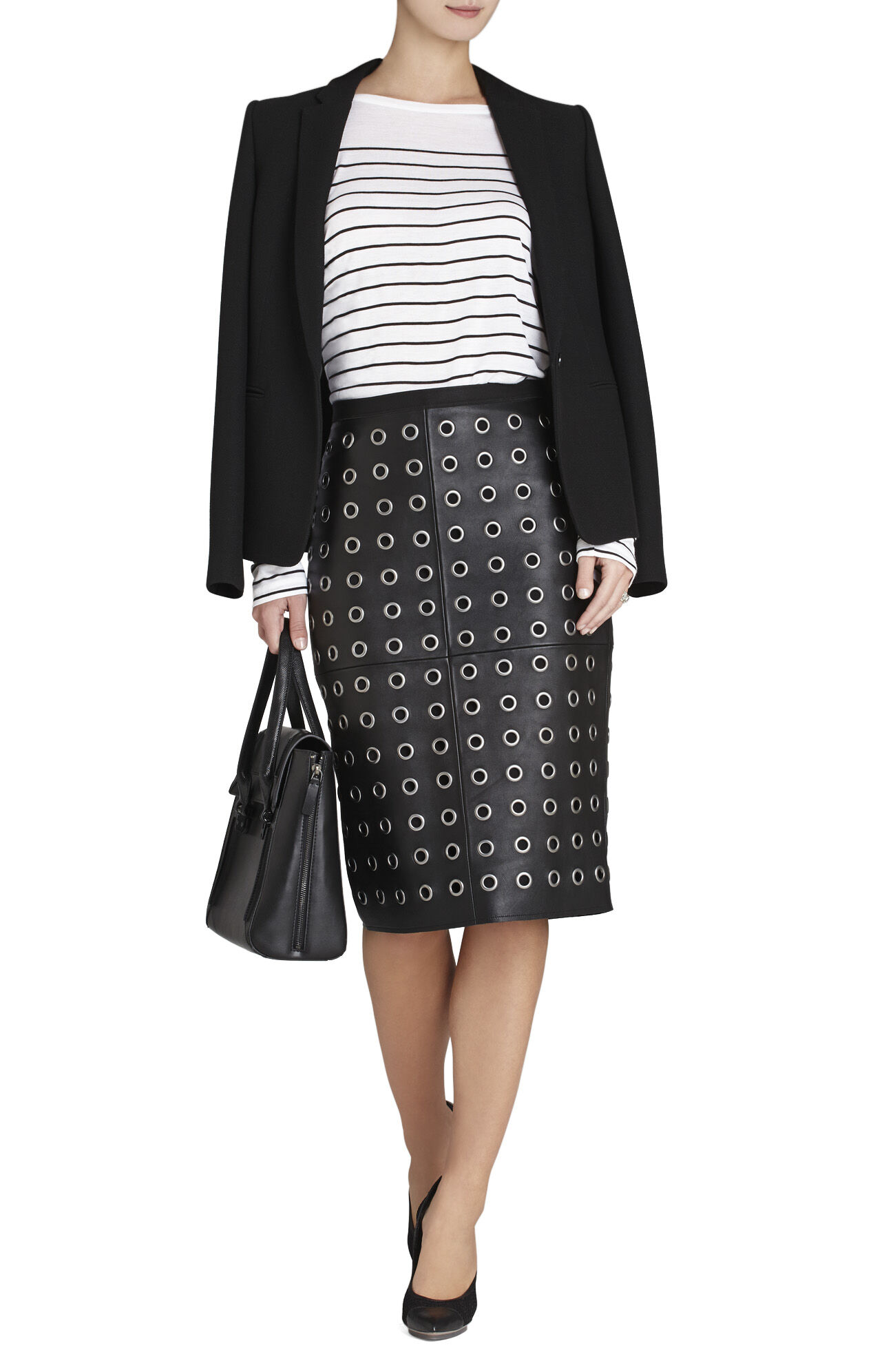 Bess Leather Pencil Skirt