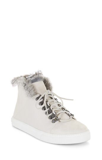 Deniz Fur Trim Lace-Up High-Top Sneaker