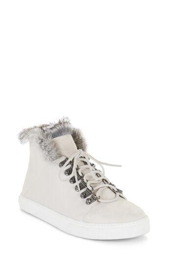 Deniz Fur Trim Lace-Up High-Top Sneaker