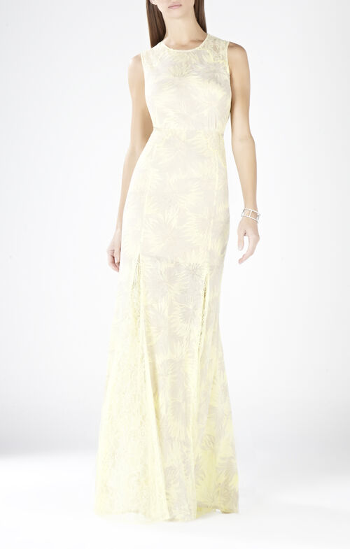 Marlyn Round-Neck Lace Cutout Gown