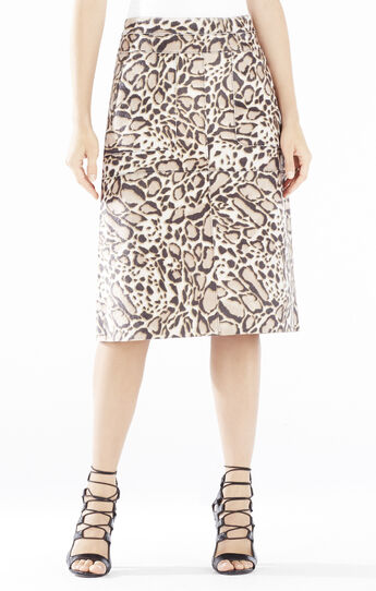 Margaux Spotted Ocelot Faux-Fur Skirt