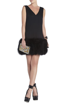 Jamysen V-Neck Feather-Hem Dress
