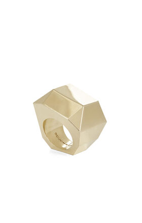 Faceted Metal Stone Ring