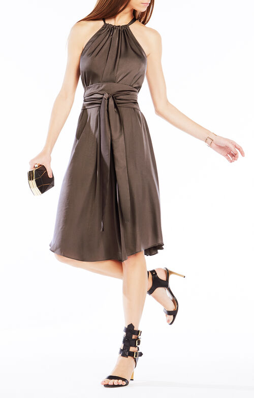 Britan Belted Satin Midi Dress