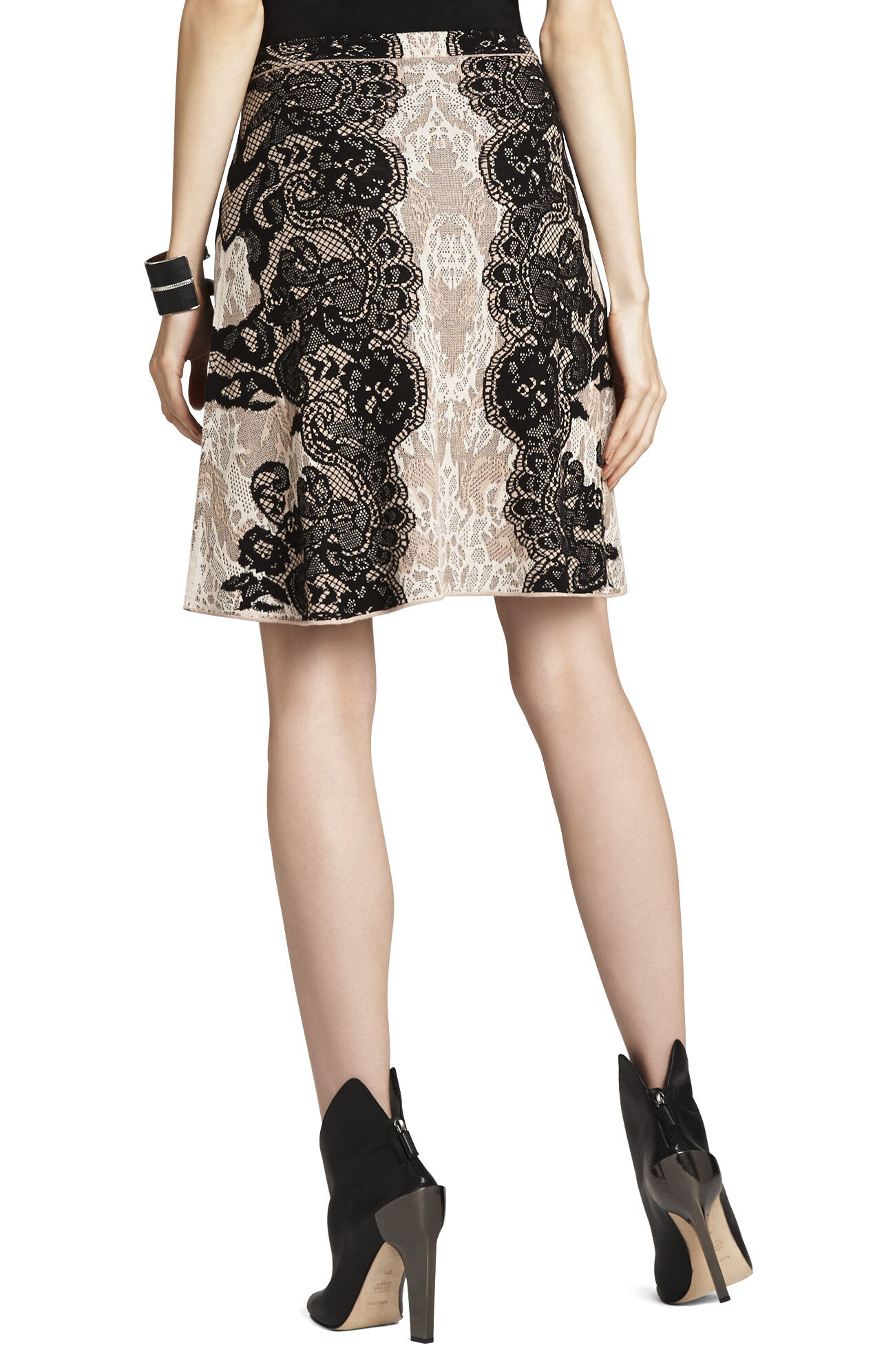 Karlie Relief-Jacquard Lace A-Line Skirt