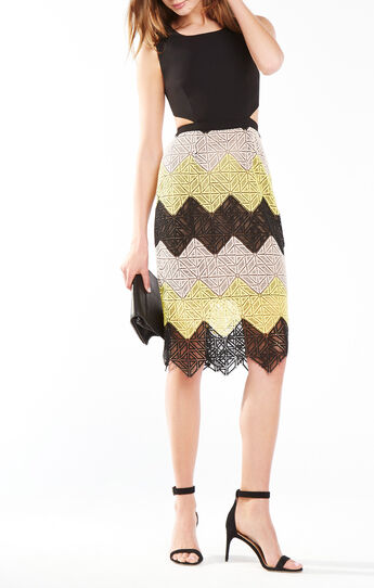 Ariela Chevron Lace Cutout Dress