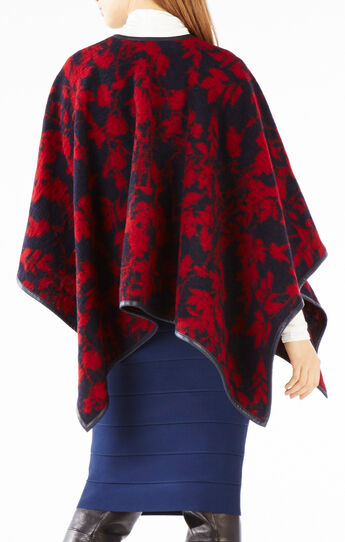 Rudy Faux-Leather Trim Floral Print Poncho