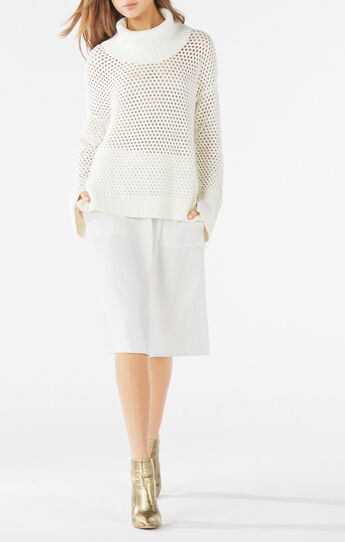 Bethenny Cowl-Neck Mesh Sweater