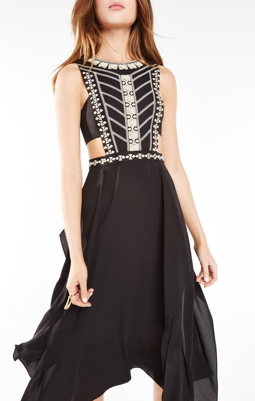 Adelia Sequined Embroidered Dress