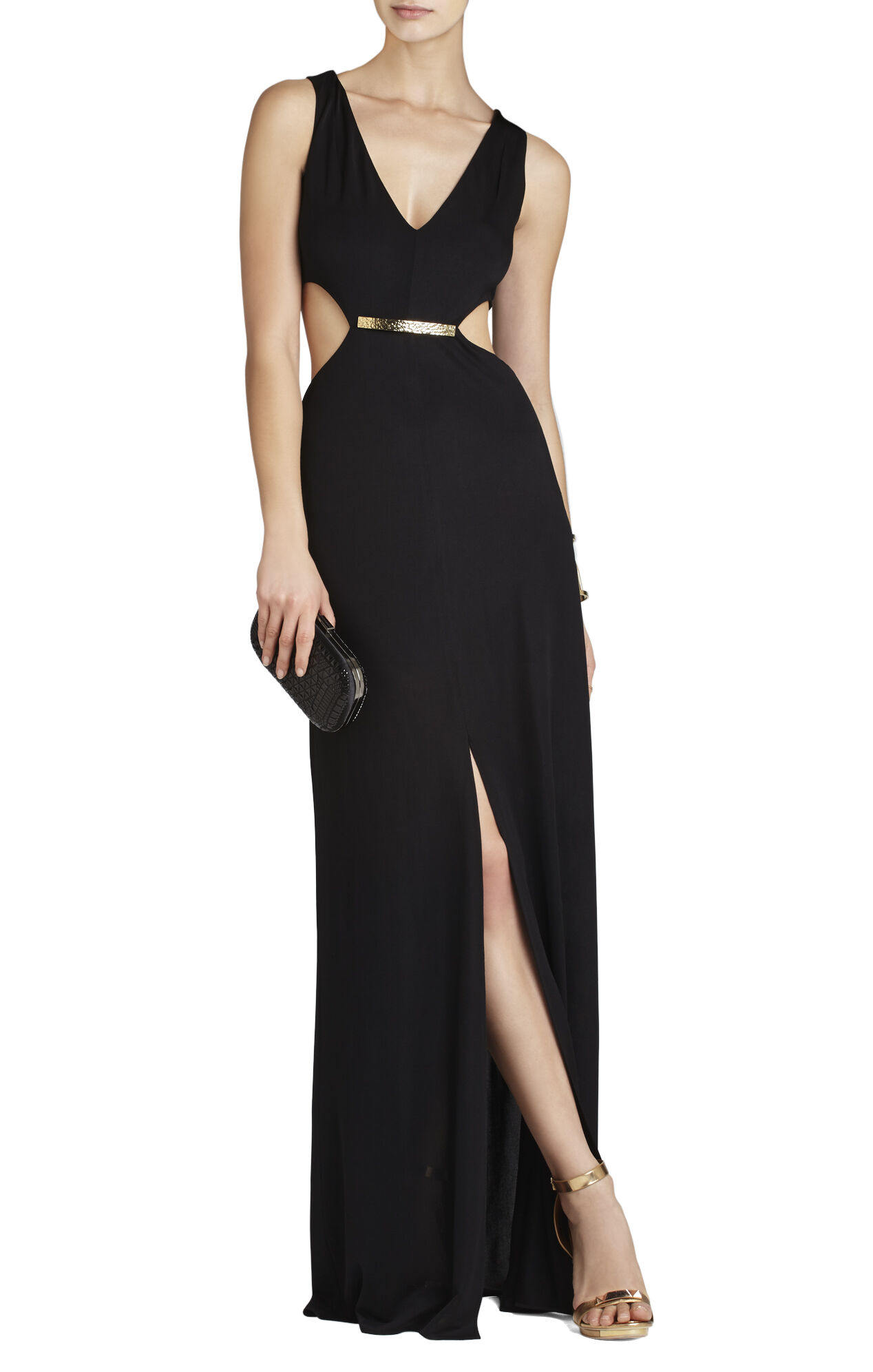 Valentina V-Neck Cutout-Waist Long Gown