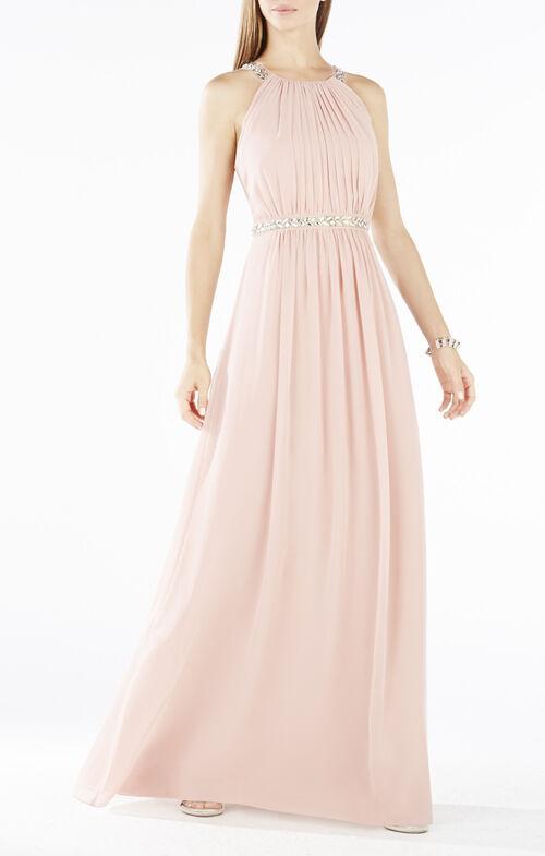 Celestine Beaded Halter Gown