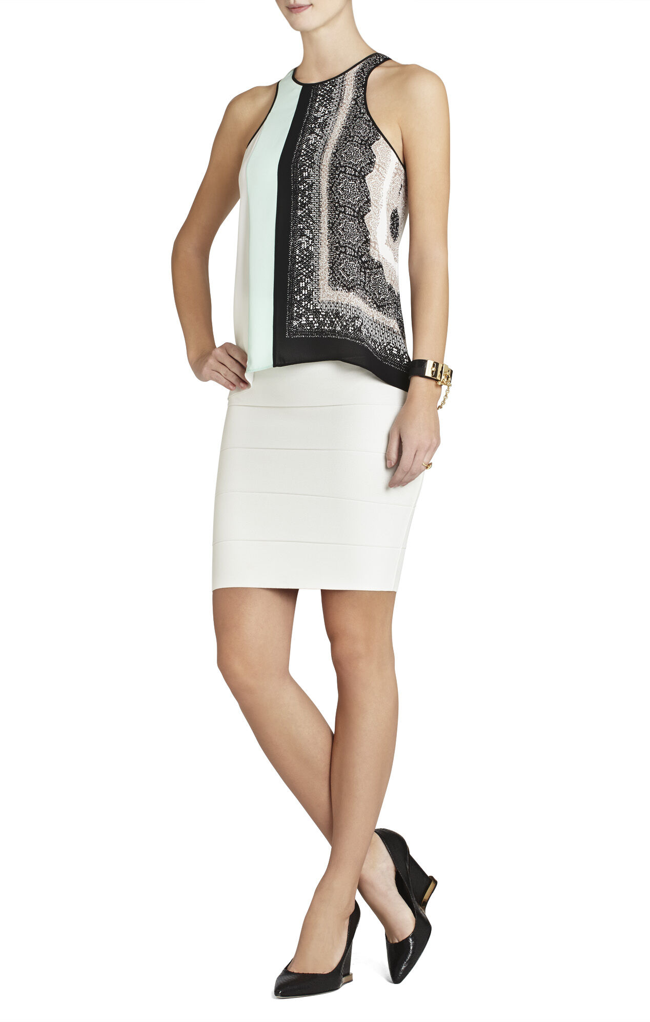 Eleeza Print-Blocked Sleeveless Top