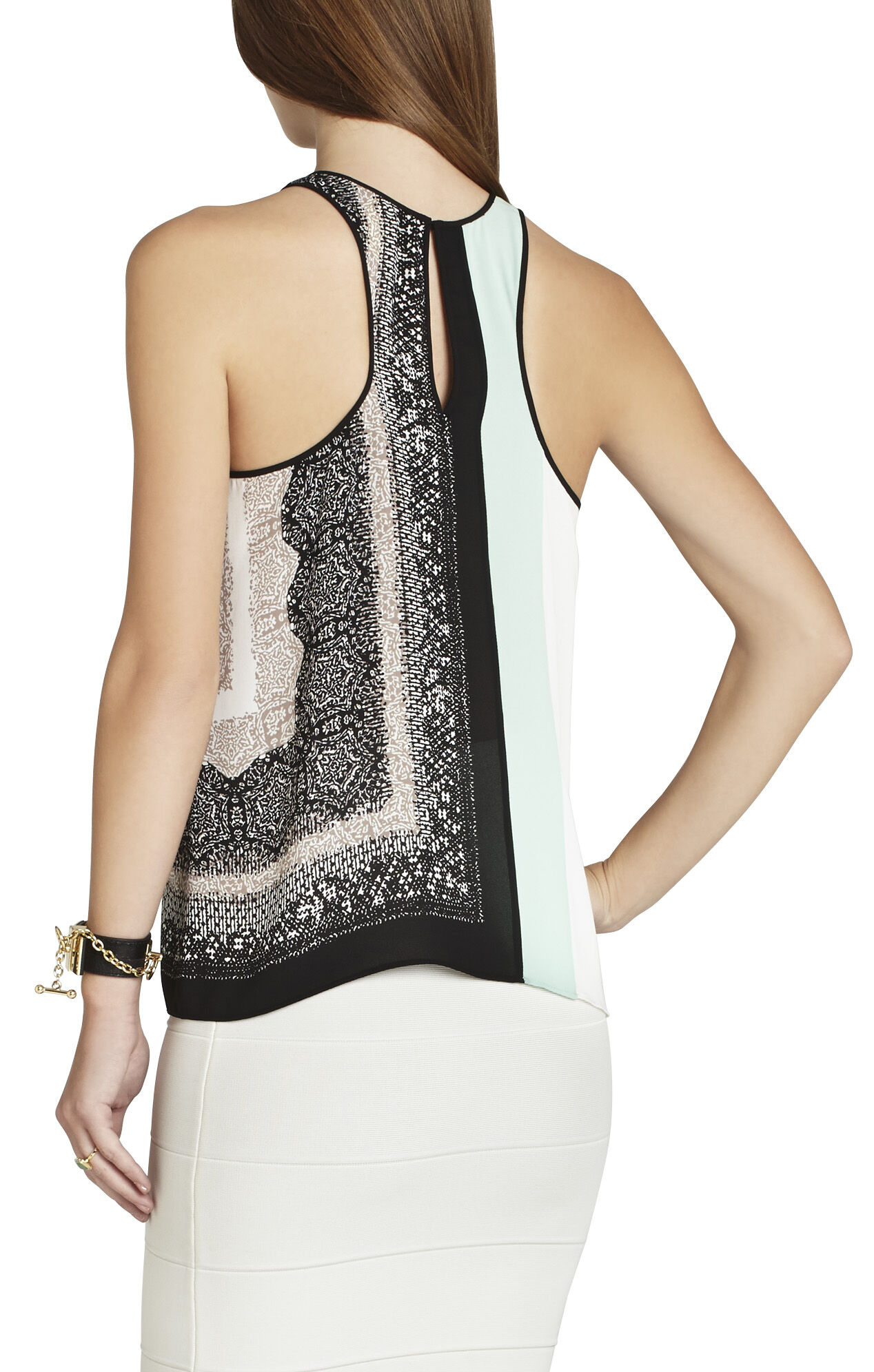 Eleeza Print-Blocked Sleeveless Top