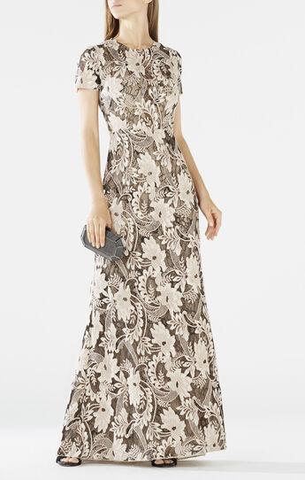 Veira Short-Sleeve Sequin-Embroidered Gown