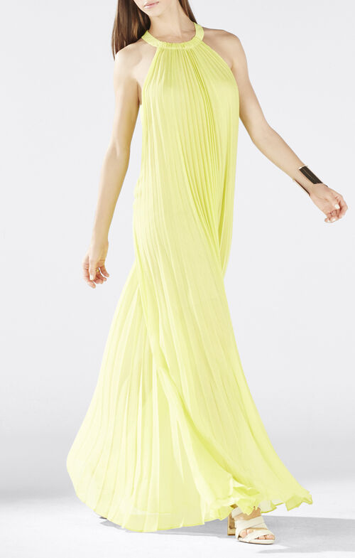Meghen Halter-Neck Pleated Gown