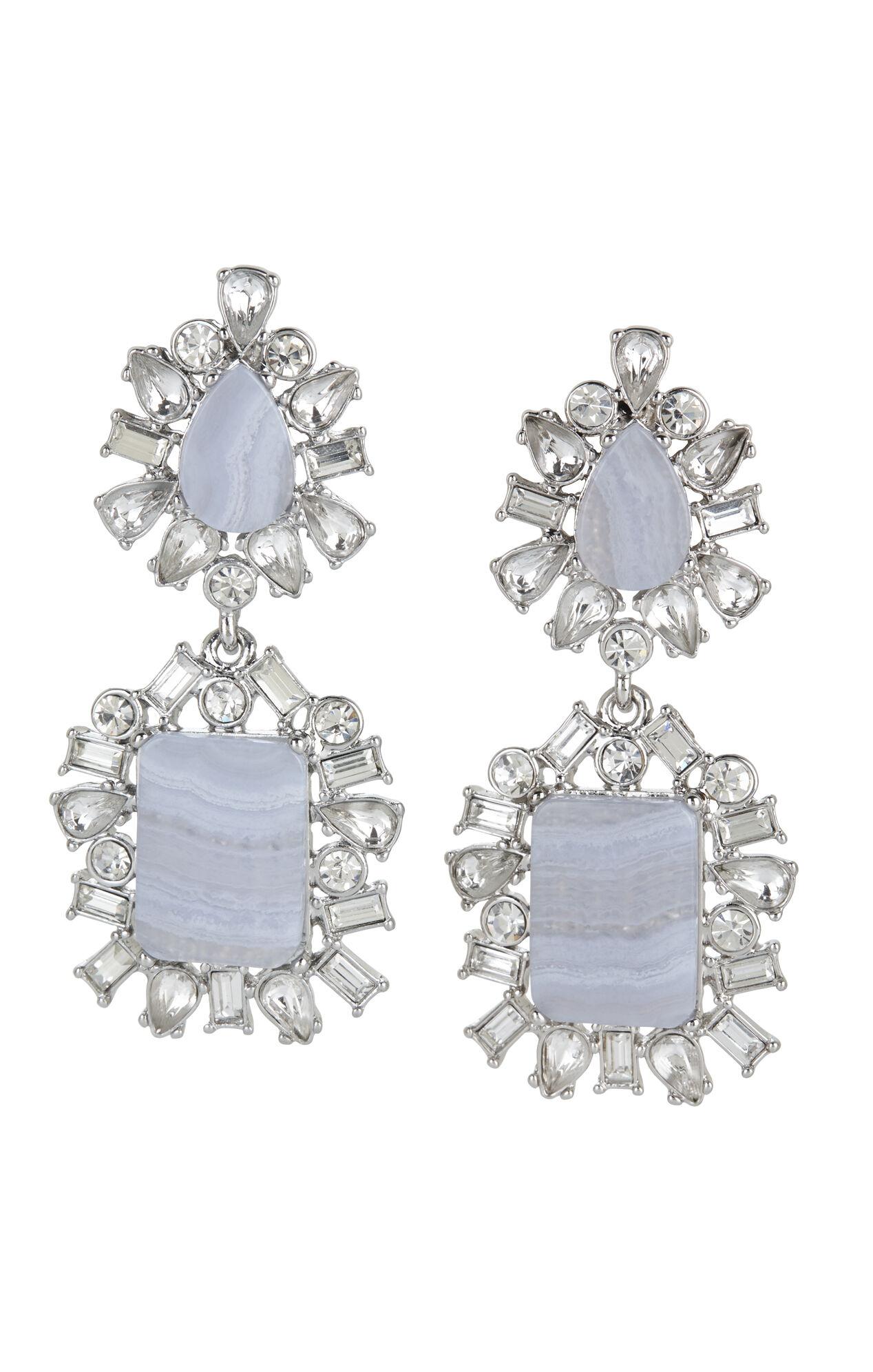 Scattered-Stone Drop Earrings