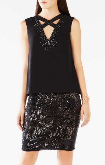 Joline Studded Crisscross-Neck Top