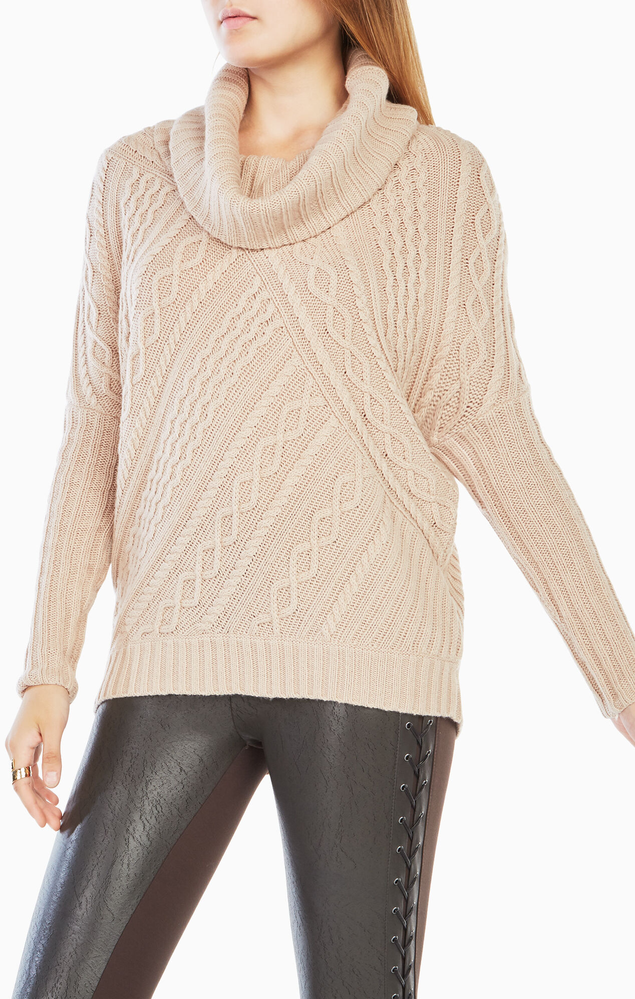 Linden Cowl-Neck Cable-Knit Pullover