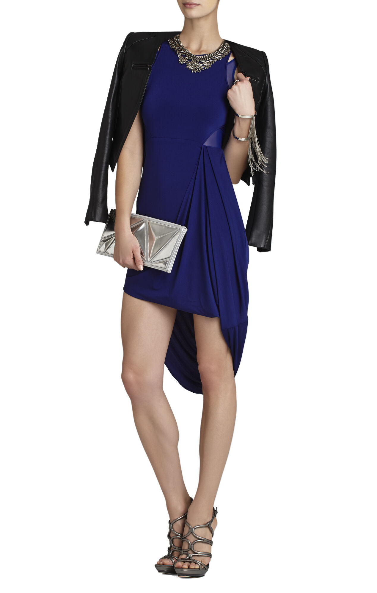 Liza Asymmetrical Draped-Skirt Dress