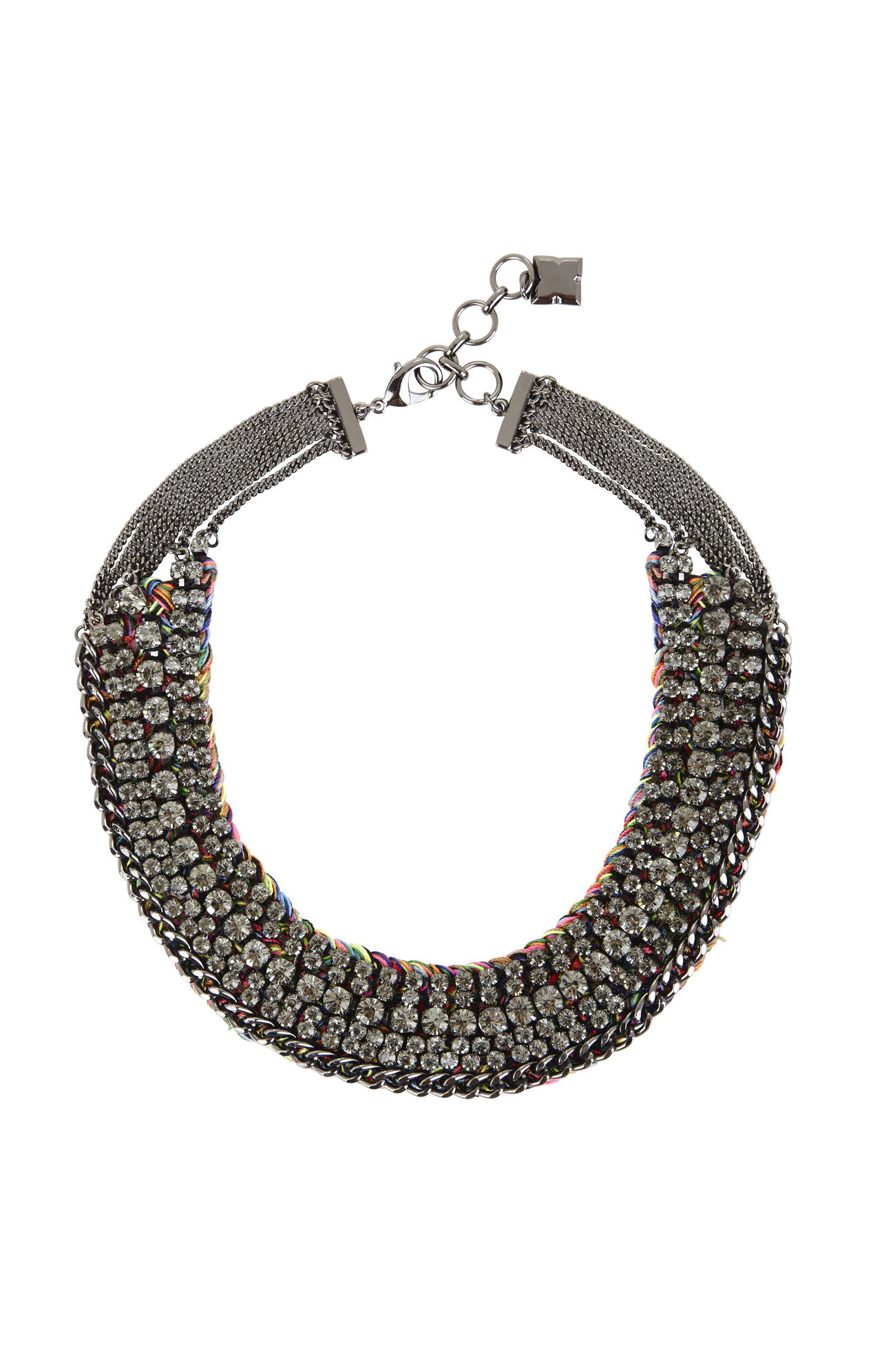 Stone and Thread Collar Necklace