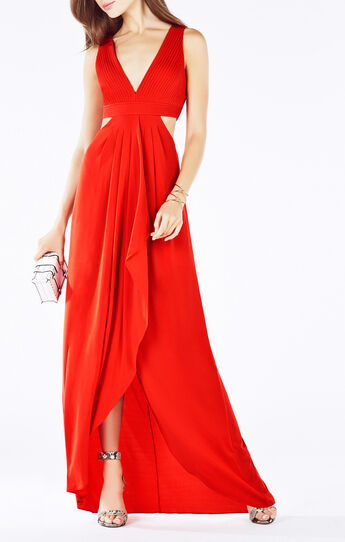 Elinne Cutout Pleated Jersey Gown