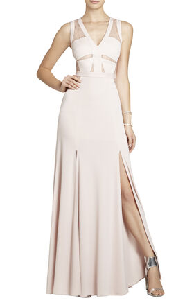 Cristy Sleeveless Lace-Insert Gown