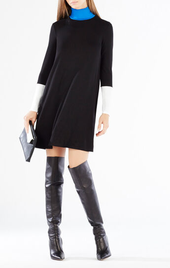 Elsey Funnel Neck Color-Blocked Dress